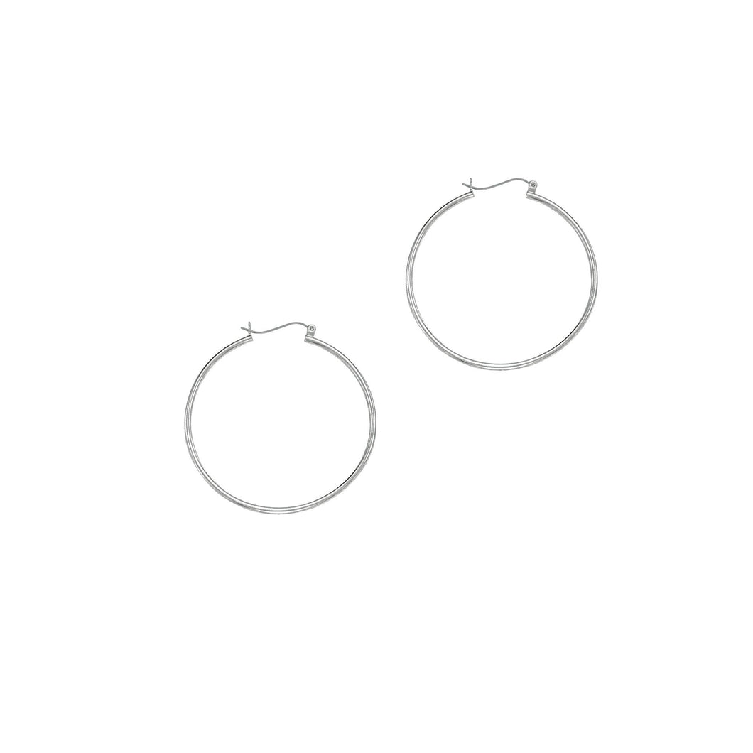 14k White Gold 1.5x40 mm Hoop Earring