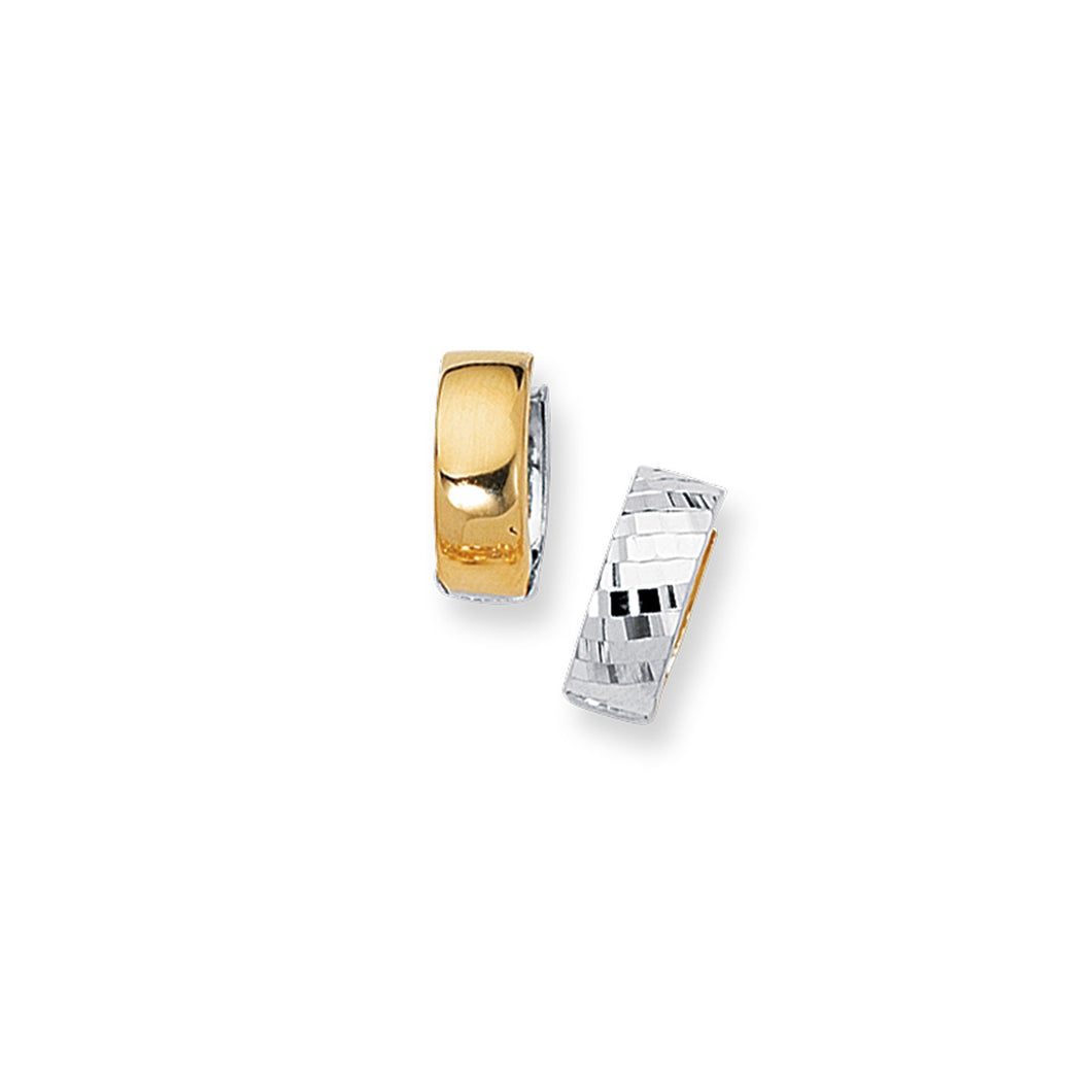 14k Two Tone Diamond Cut 5.0 mm Huggie Earring