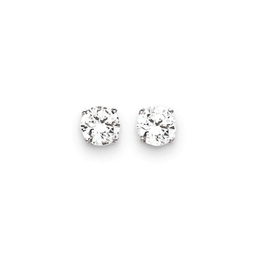 14k White Gold 6.5 mm Cubic Zirconia Earring