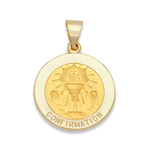 14k Yellow Gold 3/4 inch Holy Communion Medal