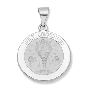 14k White Gold 11/16 inch Holy Communion Medal