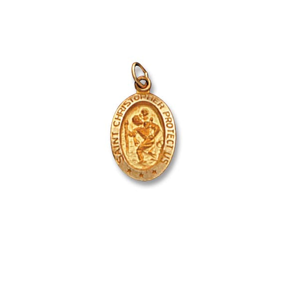 14k Yellow Gold 7/8 inch St. Christopher Medal