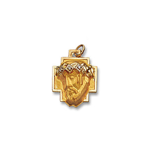 14k Yellow Gold 5/8x13/16 inch Christ Head w/3 Diamonds