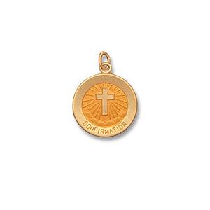 14k Yellow Gold 5/8 inch round Confirmation Medal