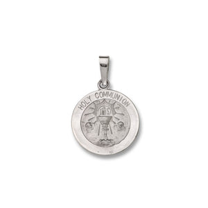 14k White Gold 9/16 inch Round Communion Medal