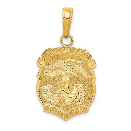 14k Yellow Gold 27x15 mm Hollow St. Michael Medal