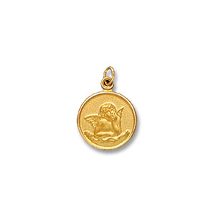 14k Yellow Gold Round Cherub Charm