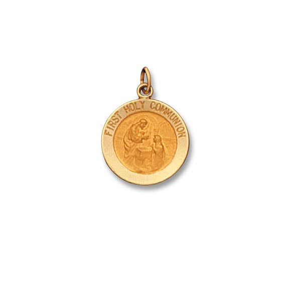 14k Yellow Gold 5/8 inch First Communion Medal
