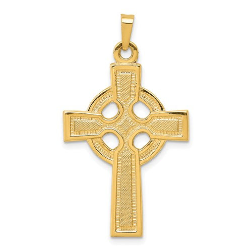 14k Yellow Gold 37x21 mm Celtic Cross Solid