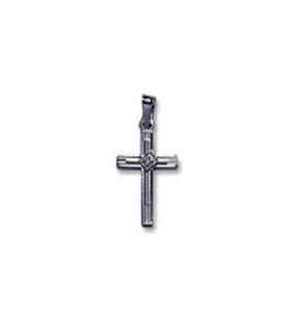 14k White Gold 1/2x3/4 inch Cross w/Diamond