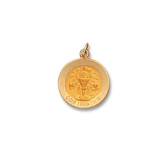 14k Yellow Gold 5/8 inch Confirmation Medal