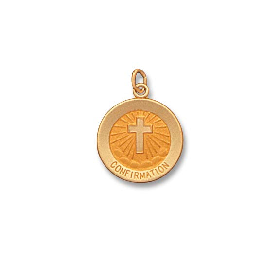 14k Yellow Gold 9/16 inch Confirmation Medal