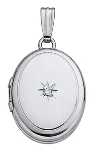 14k White Gold Oval Locket with Diamond