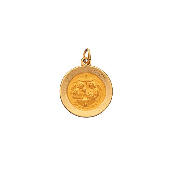 14k Yellow Gold 5/8 inch Baptism Medal