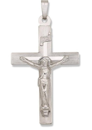 14 K White Cross with Crucifix 1 1/2 X 7/8 - Inch