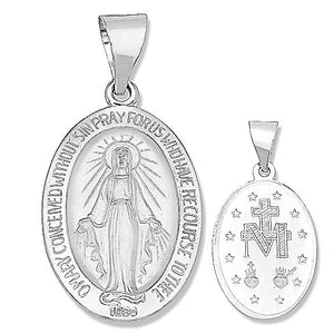14k White Gold Miraculous Medal 11/16 Inch