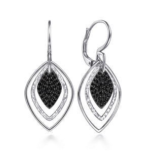 Sterling Silver Rhodium Plated, 0.92 Ct Sapphire dangle earring