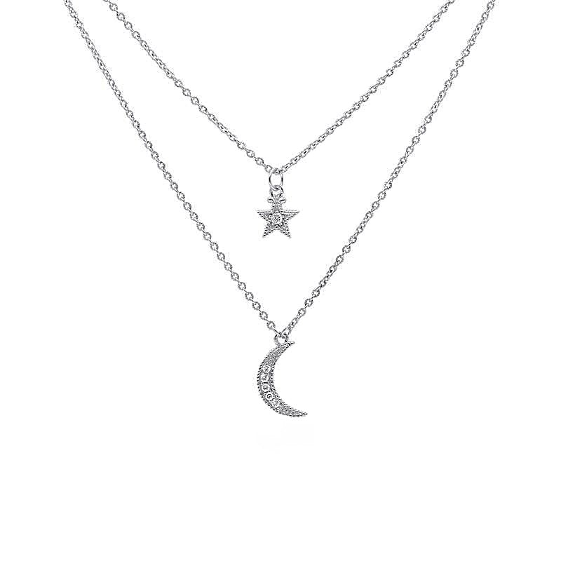 Sterling Silver Moon Star White Topaz Necklace