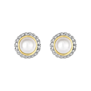 Sterling Silver and 18k Pearl Earring