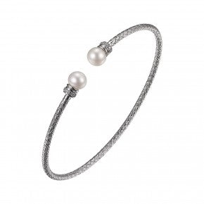 Sterling Silver cz and Pearl Bangle Bracelet