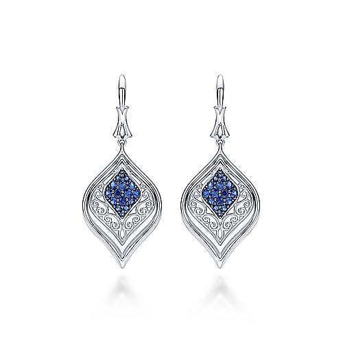Sterling Silver 0.74 Ct Sapphire Dangle Earring