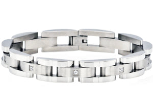 Mens Curved Link Stainless Steel Bracelet With Cubic Zirconia