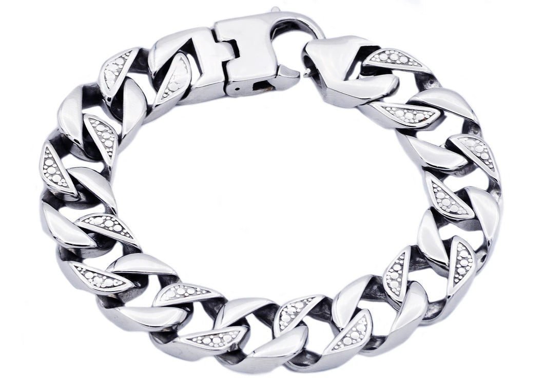 Mens Stainless Steel Pave Curb Link Chain Bracelet