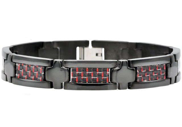 Mens Black Plated Stainless Steel Bracelet With Black And Red Carbon Fiber