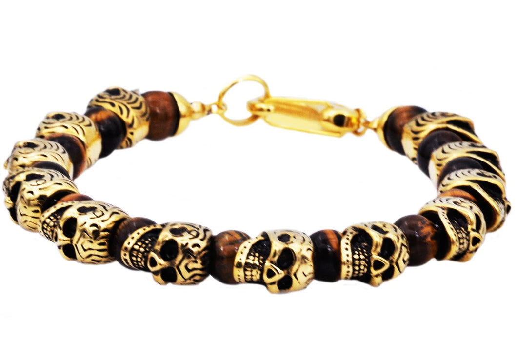 Mens Genuine Tiger Eye Gold Plated Stainless Steel Skull Beaded Bracelet