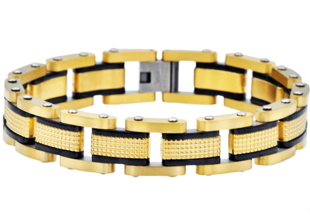 Mens Gold Plated Textured Stainless Steel Bracelet With Black Plated Lines