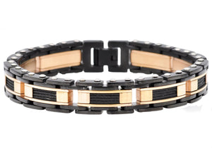 Mens Black And Rose Gold Plated Stainless Steel Bracelet With Black Plated Cables
