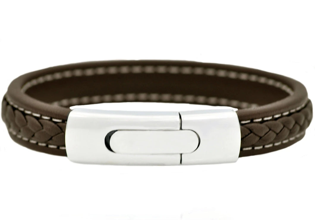 Mens Stainless Steel Brown Leather Bracelet