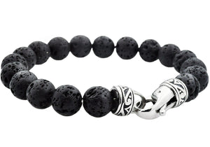 Mens Genuine Lava Stone Stainless Steel Beaded Bracelet