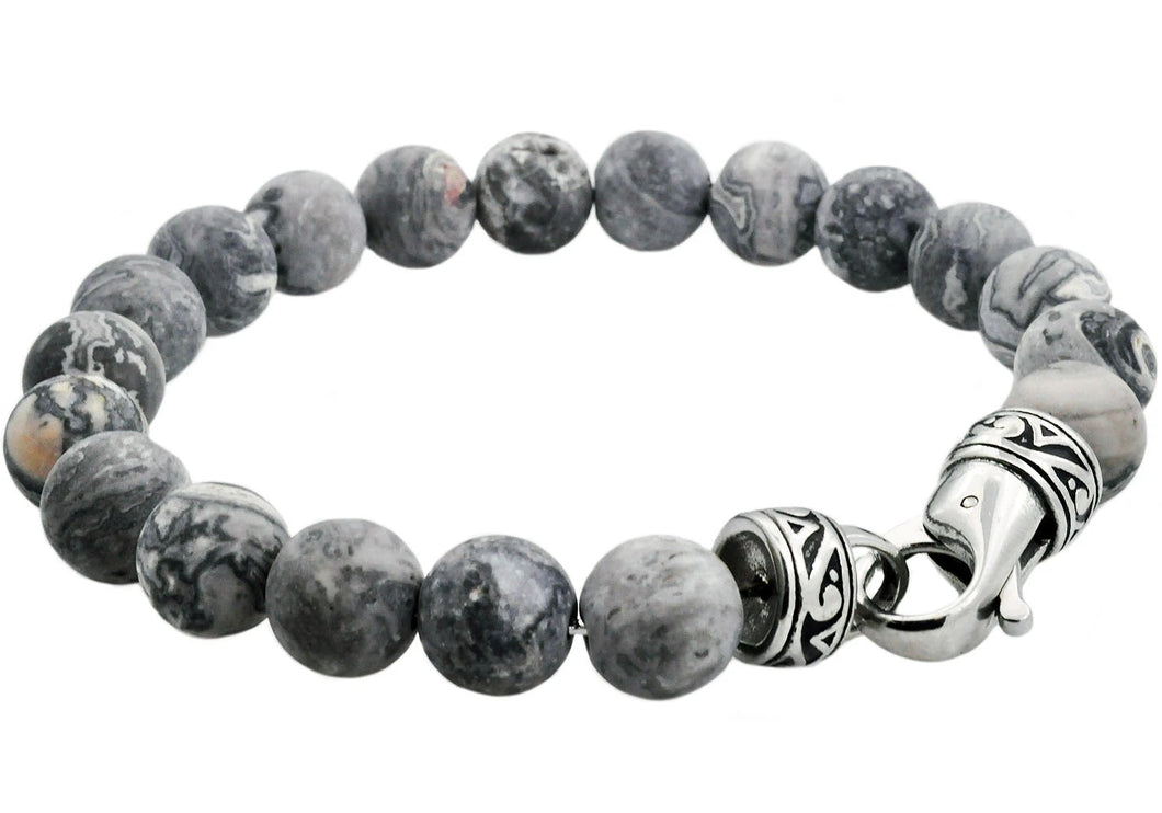Mens Genuine Gray Jasper Stainless Steel Beaded Bracelet