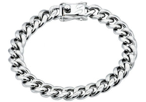 Mens 10mm Stainless Steel Cuban Link Chain Bracelet With Box Clasp