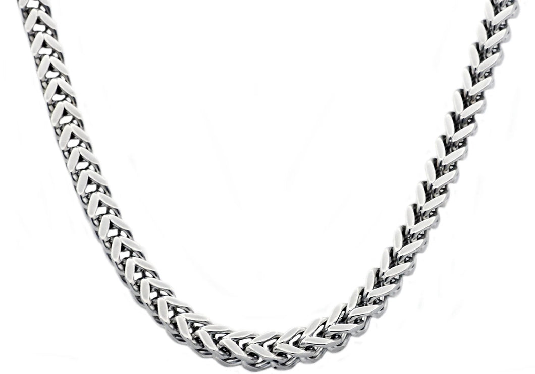 Mens 8mm Stainless Steel Franco Link Chain Necklace