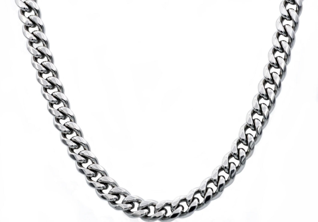 Mens 10mm Stainless Steel Cuban Link Chain Necklace With Box Clasp