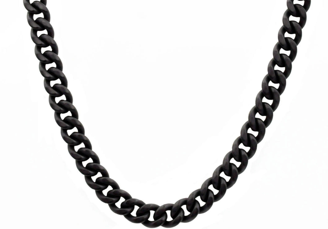 Mens 10mm Matte Black Plated Stainless Steel Miami Cuban Link Chain Necklace With Box Clasp