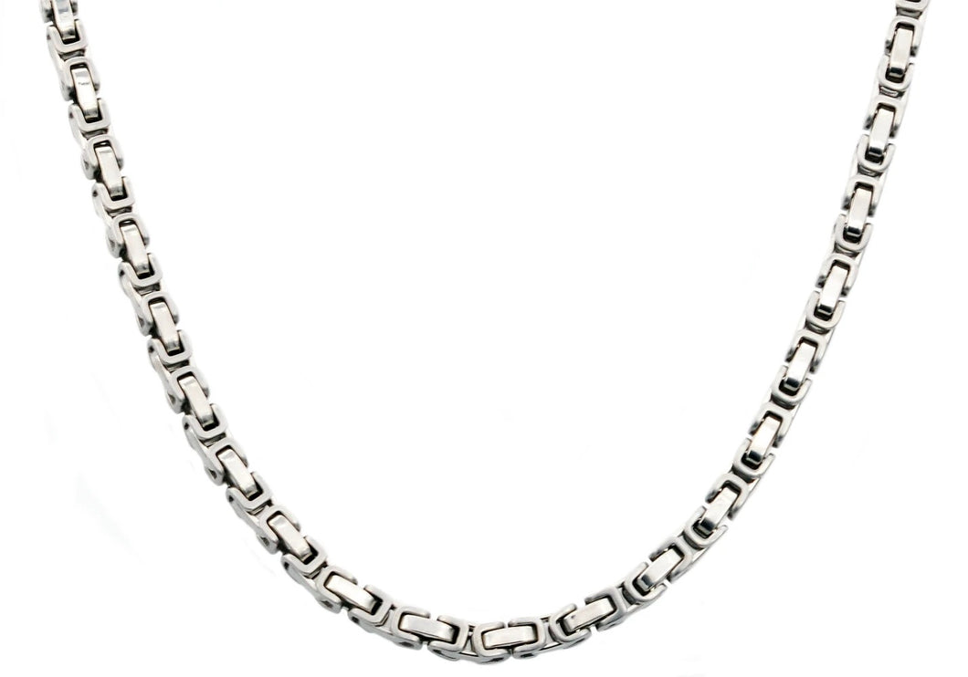 Mens 4mm Stainless Steel 24' Byzantine Link Chain Necklace