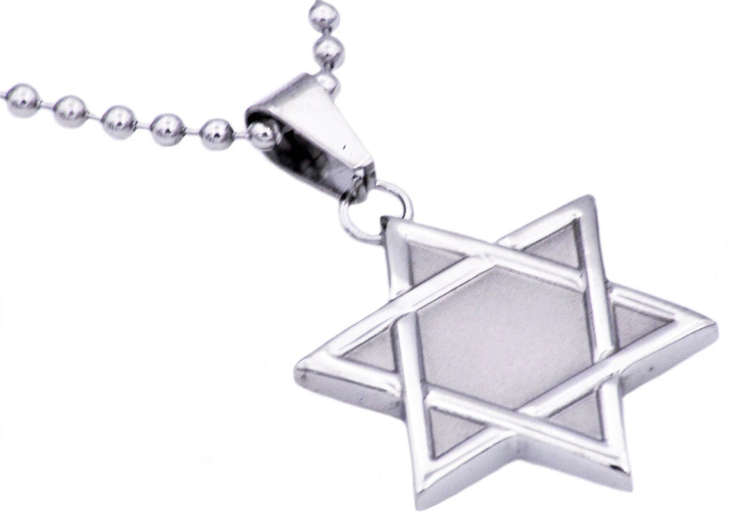 Mens Stainless Steel Star Of David Pendant Necklace