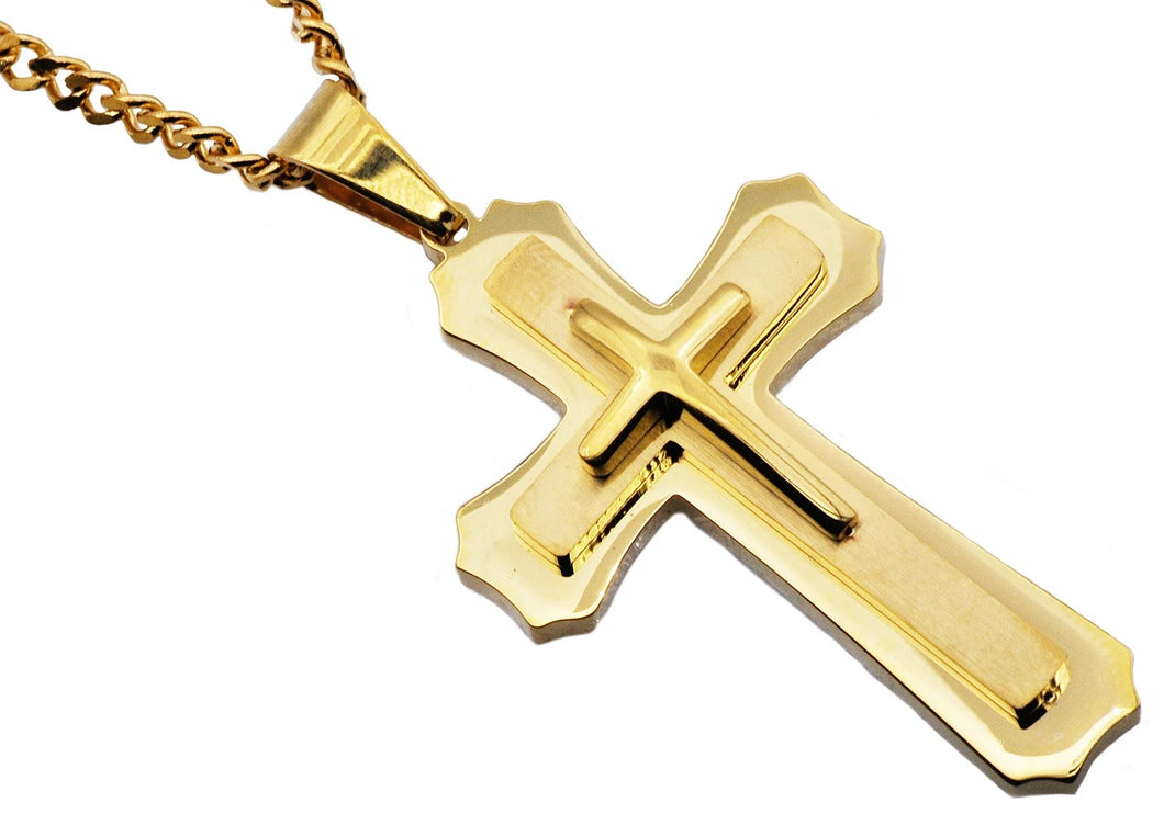 Mens Gold Plated Stainless Steel Layered Cross Pendant Necklace