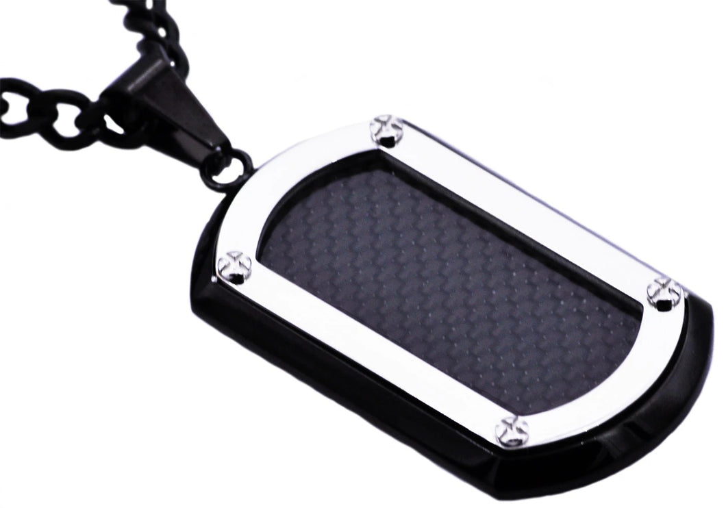Mens Stainless Steel Dog Tag Pendant With Carbon Fiber