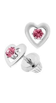 14K White Gold Pink Tourmaline Heart Earring
