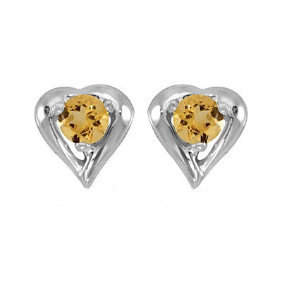 14k White Gold Citrine Heart Earring