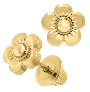 14k Yellow Gold Flower Earring
