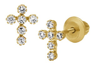 14k Yellow Gold CZ Cross Earring