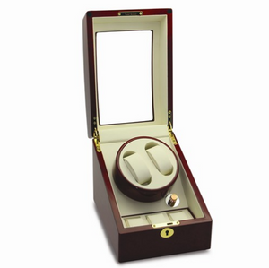 High Gloss Finish Lockable 2-Watch Winder