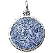 "Load image into Gallery viewer, Sterling Silver Enamel St. Christopher medal 1"" (24mm)"