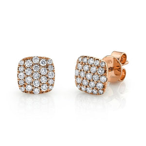 14k Gold 0.50 Ct Diamonds Pave Stud Earring, Available In White, Rose and Yellow Gold