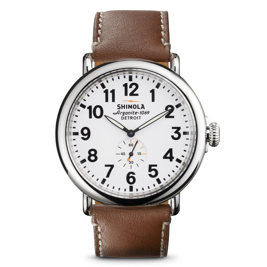 Shinola Runwell 47mm polished Stainless Steel, white dial, natural leather strap